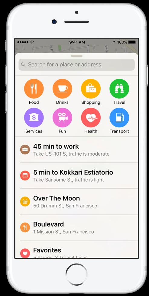 iOS 10 Apple Maps cercano iPHone captura de pantalla 001