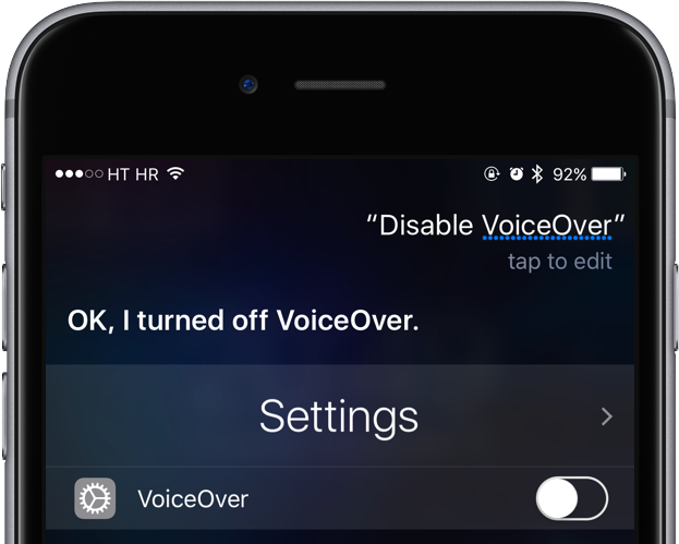 iOS 10 Siri VoiceOver enabled iPhone screenshot 001