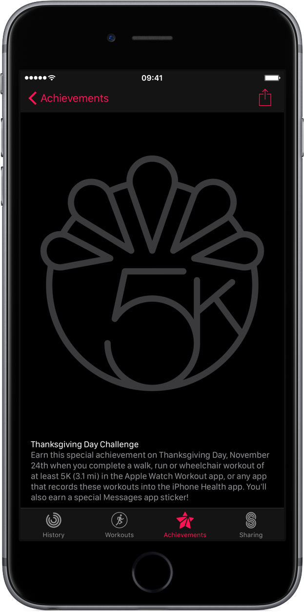 iOS 10 Thanksgiving 2016 Activity Challenge iPhone screenshot 001