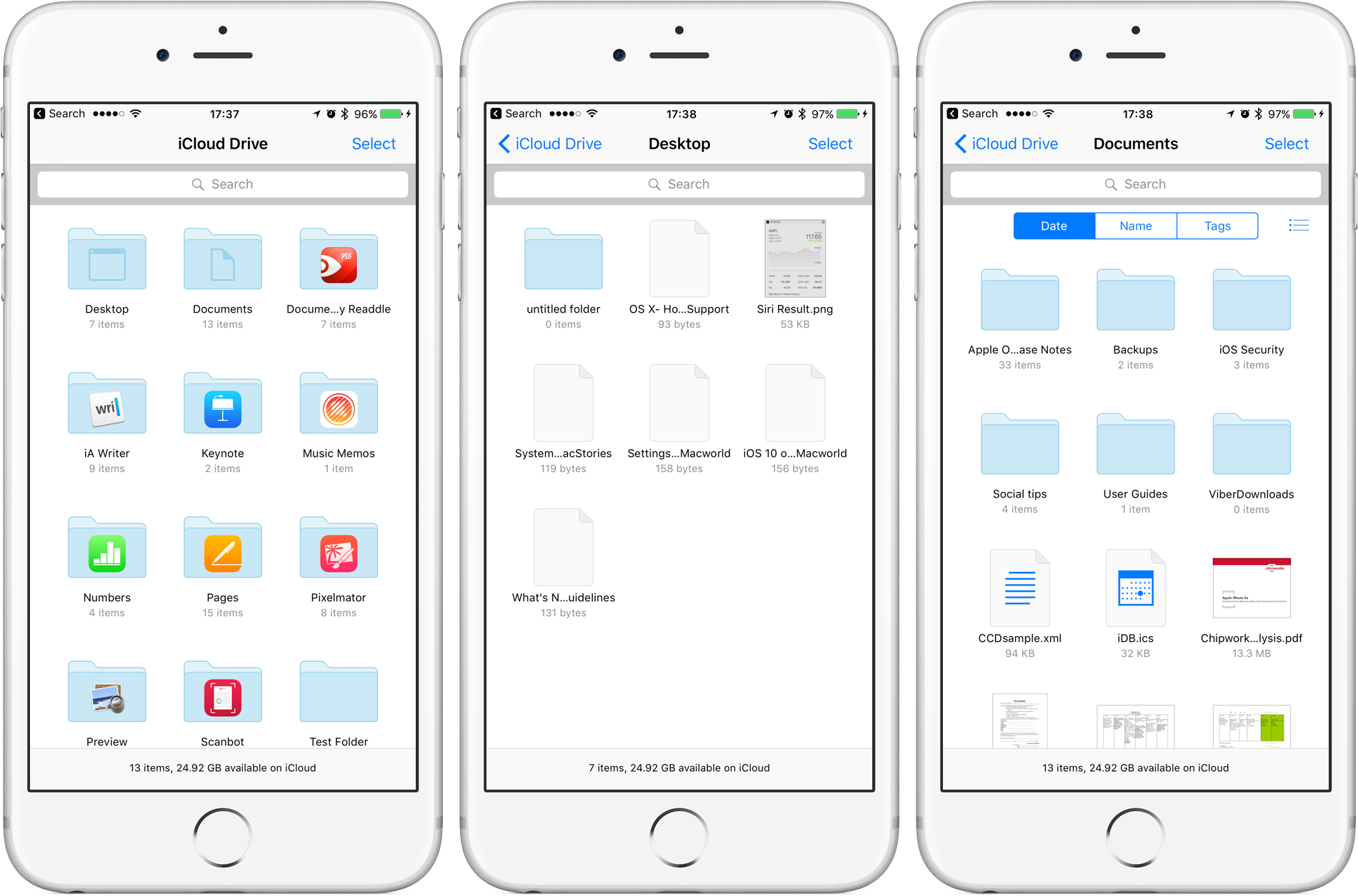 iOS 10 iCloud Drive app Desktop Documents folders iPhone screenshot 001