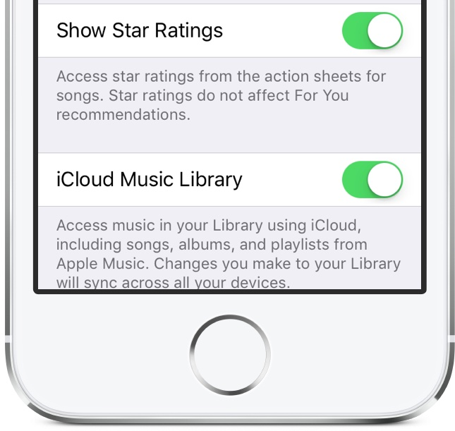 iOS 10.2 beta 1 Settings Music Show Star Ratings iPhone screenshot 001