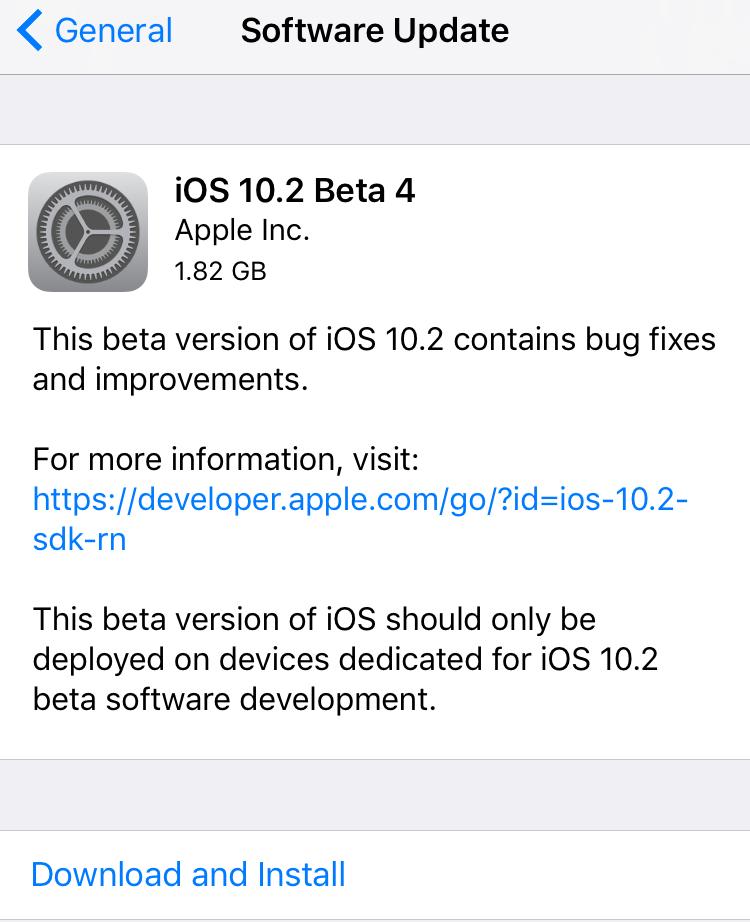 ios 10.2 beta 4