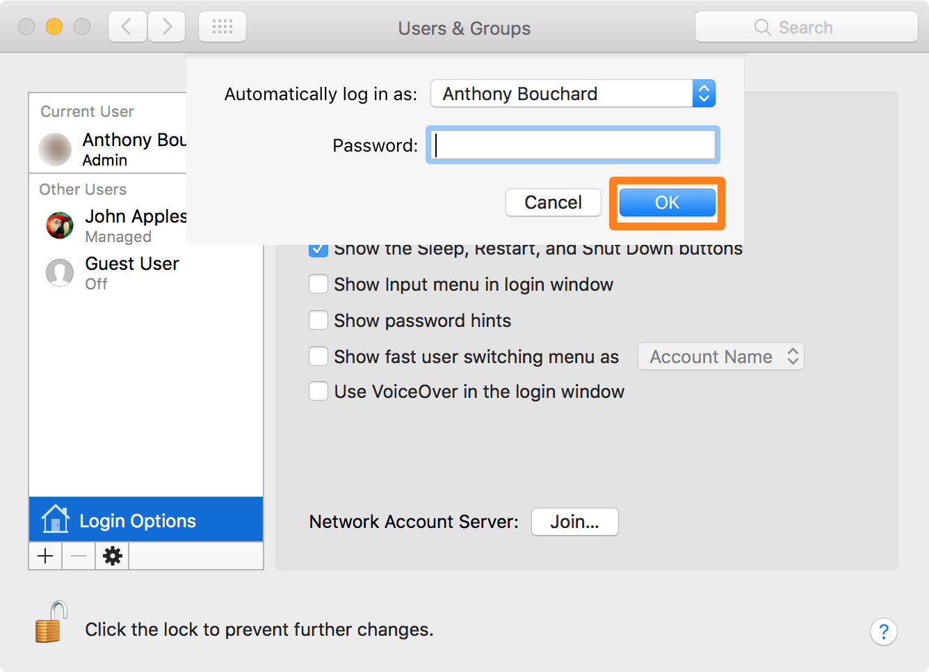macOS Automatic Login Password