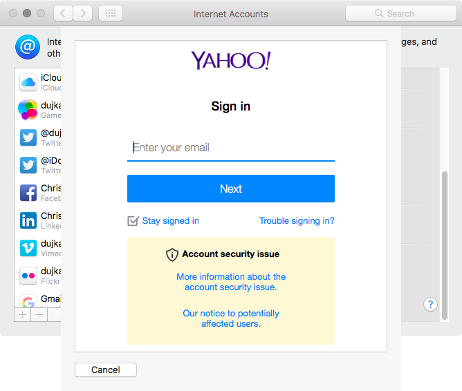 macOS Sierra Accounts add Yahoo Mac screenshot 002