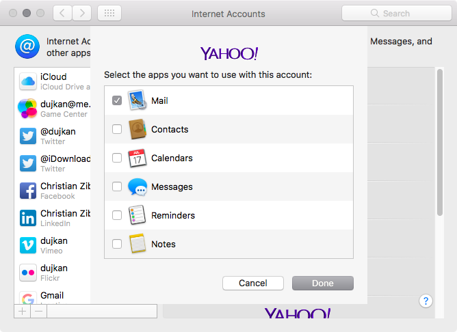 macOS Sierra Accounts add Yahoo Mac screenshot 003