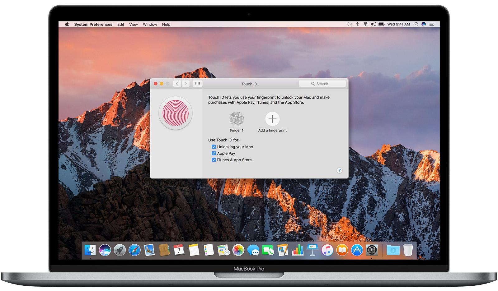 MacOS Sierra Preferencias del sistema Touch ID Captura de pantalla de Mac 001