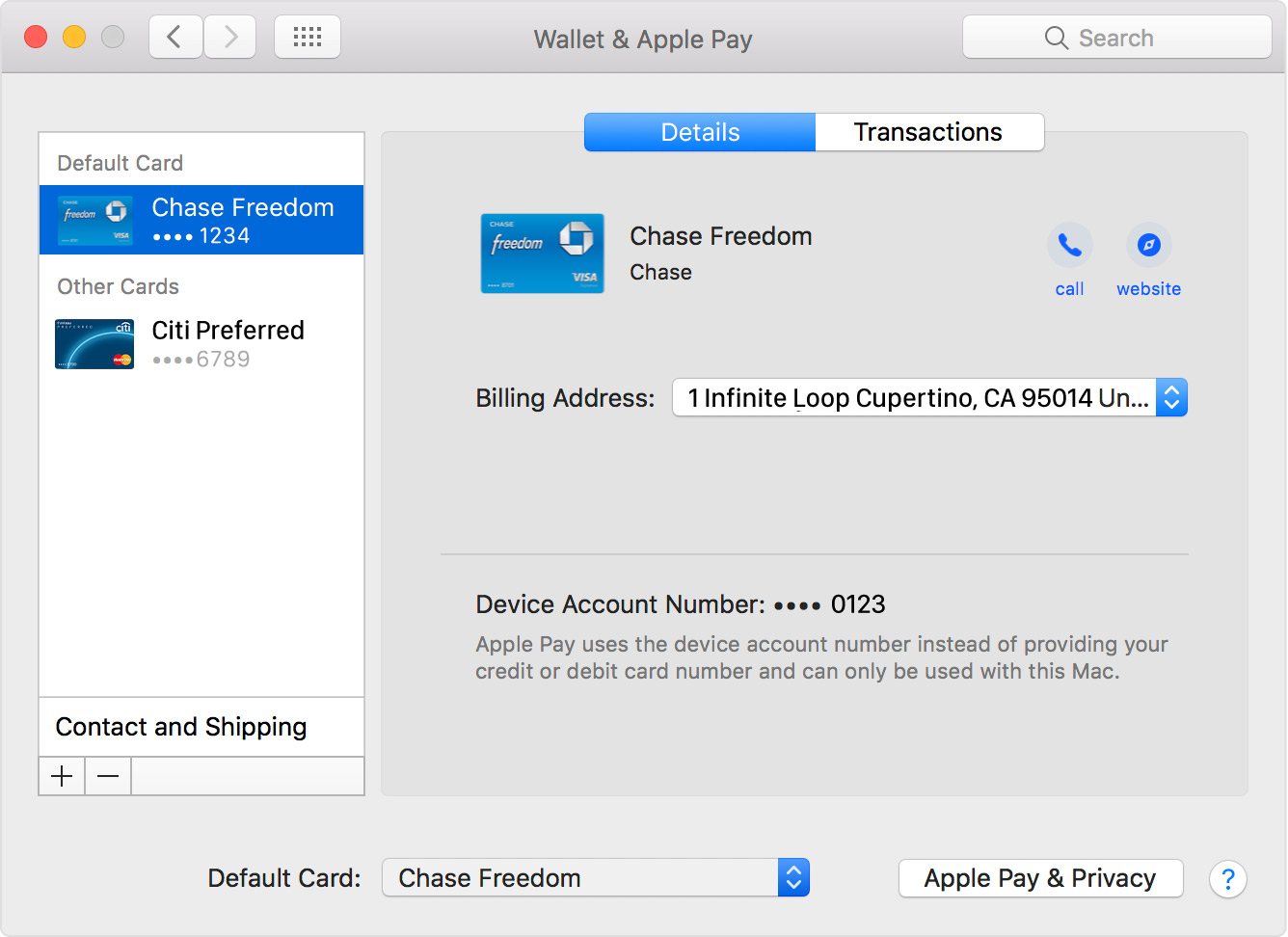 MacOS Sierra System Preferences Wallet y Apple Pay Detalles Captura de pantalla de Mac 001