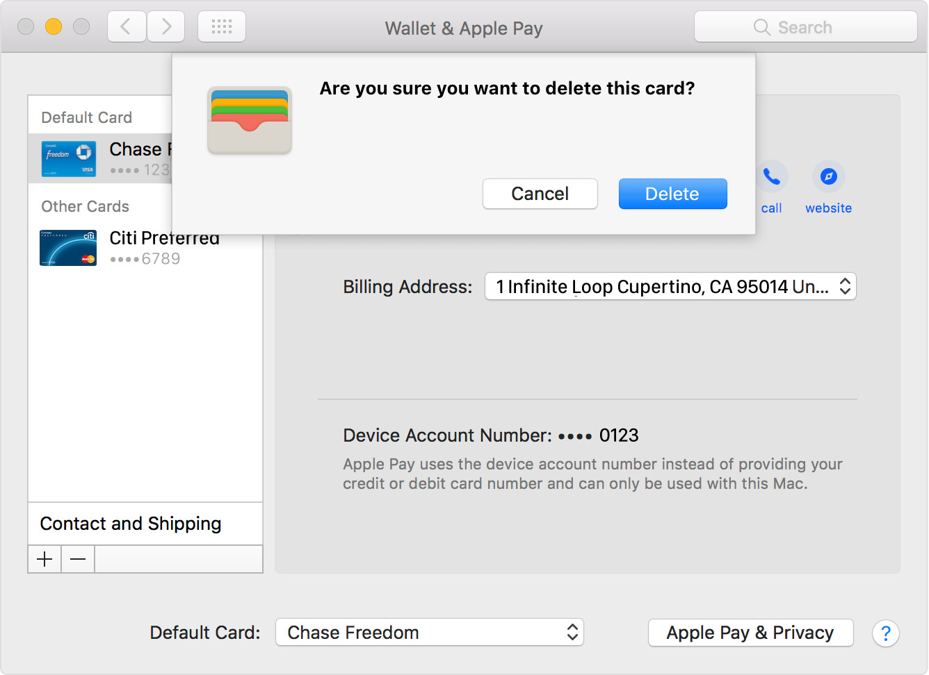 macOS Sierra System Preferences Wallet and Apple Pay delete card Mac screenshot 001