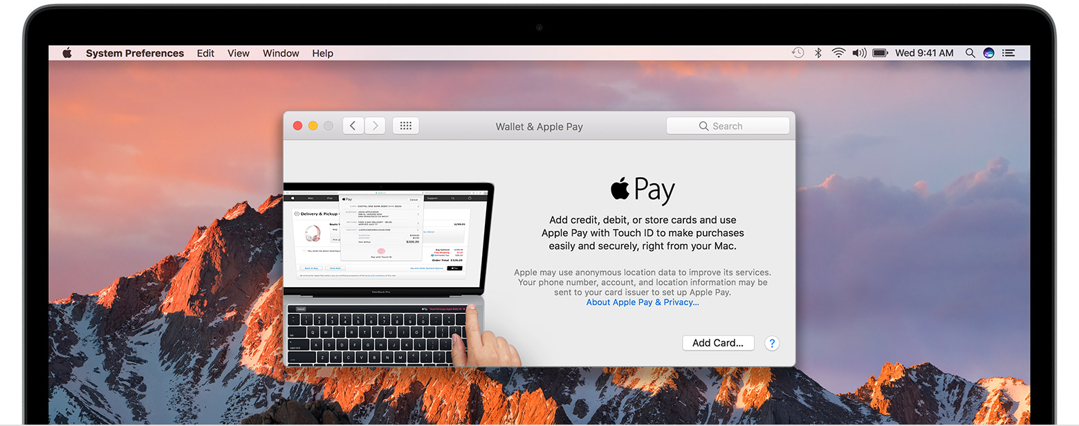 Captura de pantalla 001 de MacOS Sierra System Preferences Wallet y Apple Pay