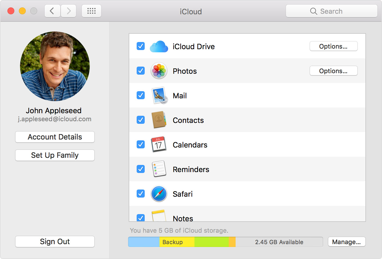 macOS Sierra System Preferences iCloud Drive enabled Mac screenshot 001