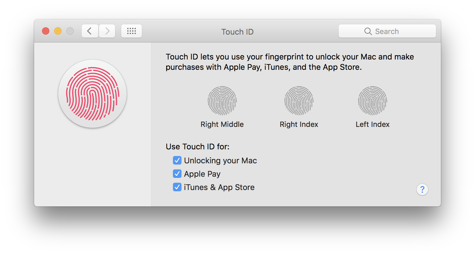 Preferencias del sistema macOS Touch ID llamado huellas digitales Mac captura de pantalla 001