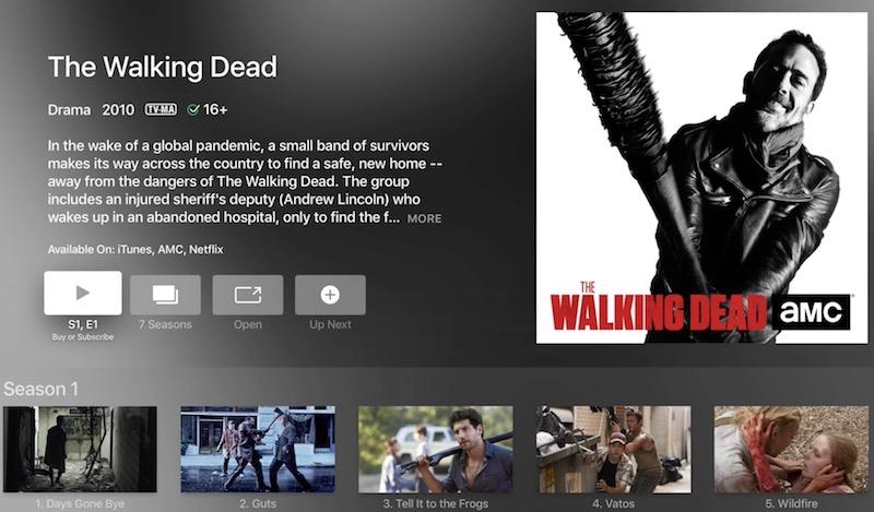 AMC Walking Dead universal search Apple TV screenshot 001