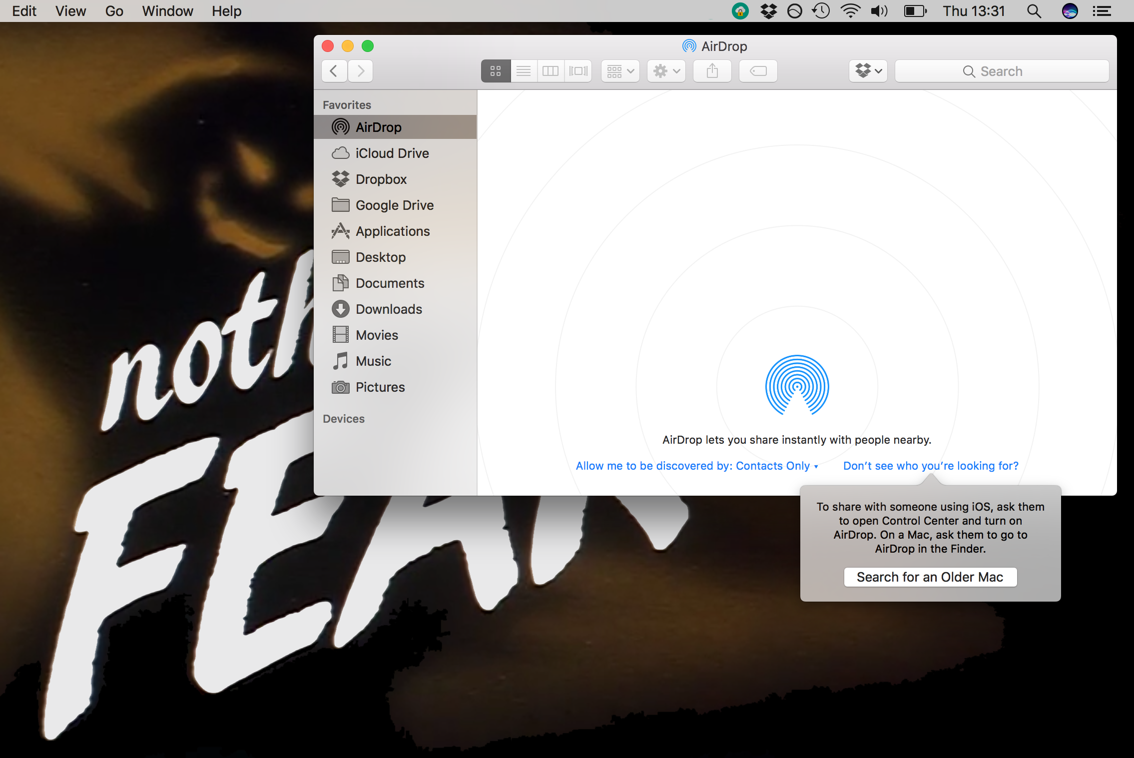AirDrop Older Mac Search
