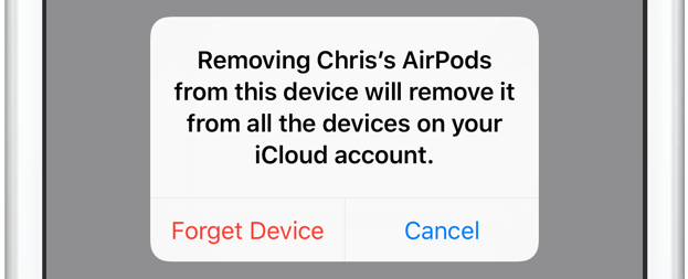 AirPods remove from all iCloud devices iPhone screenshot 001