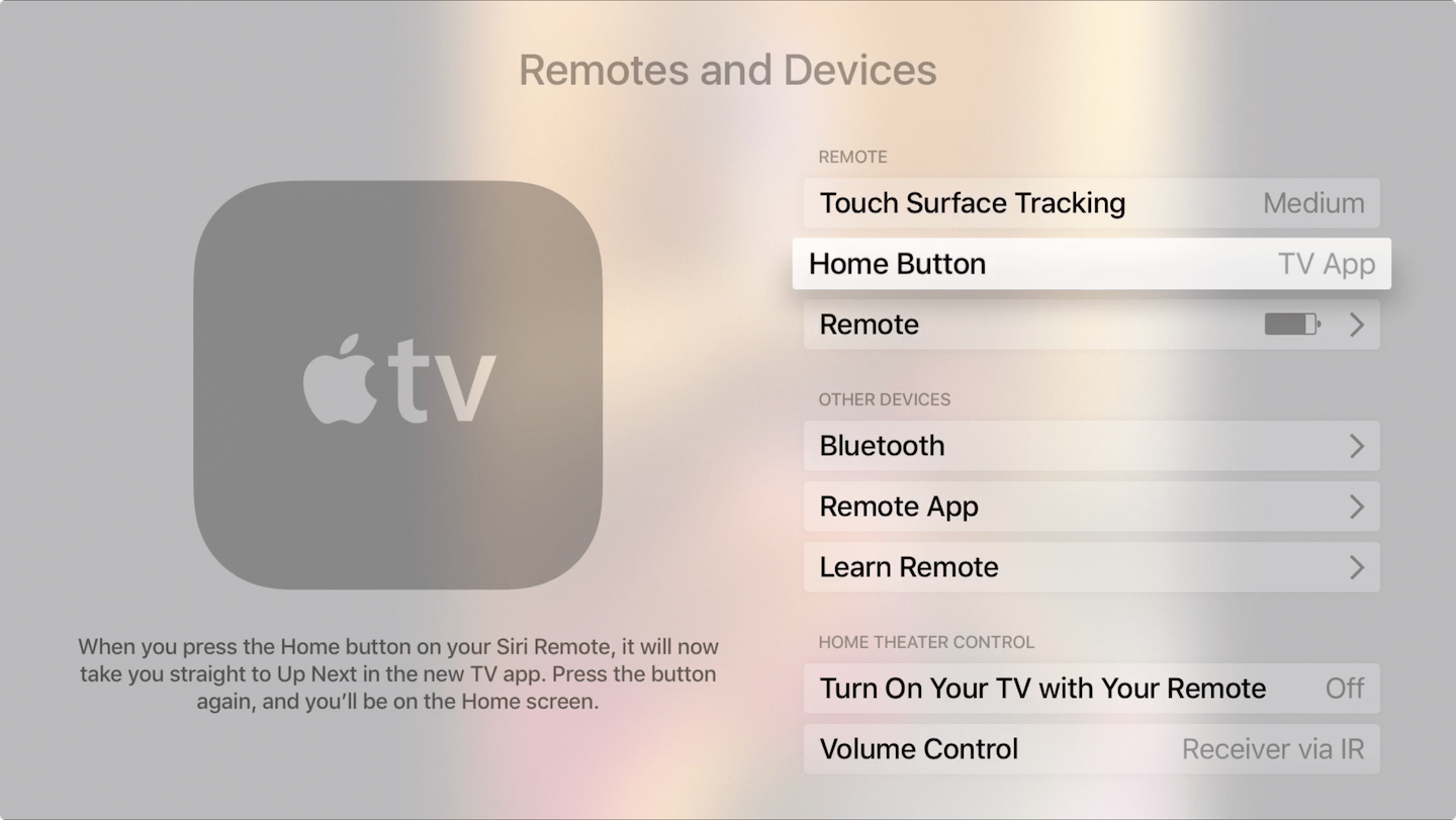 Apple TV remote Home button go to TV app