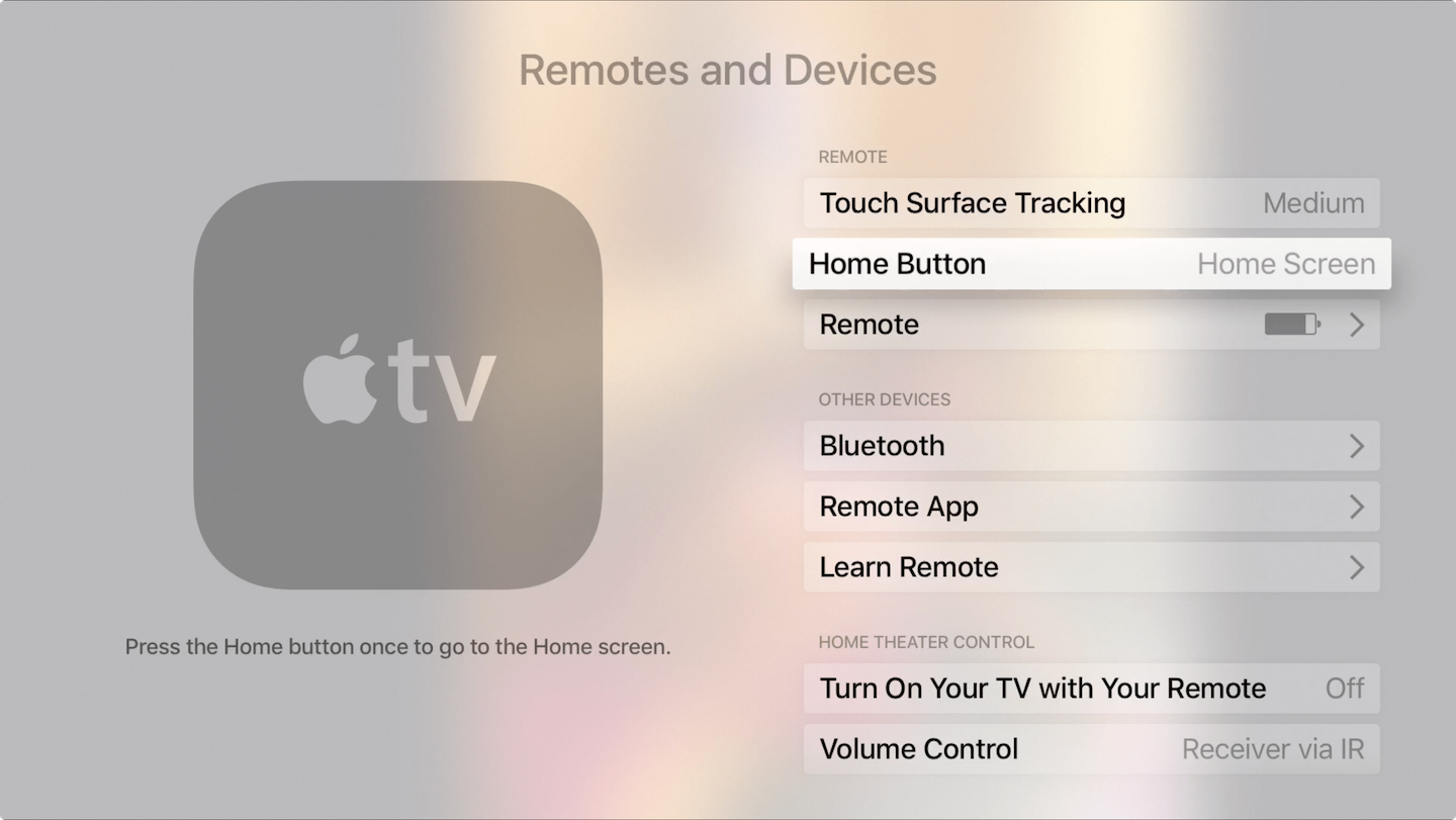 Apple TV remote Home button go to screen