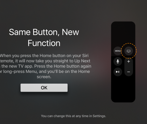 Apple TV remote home button