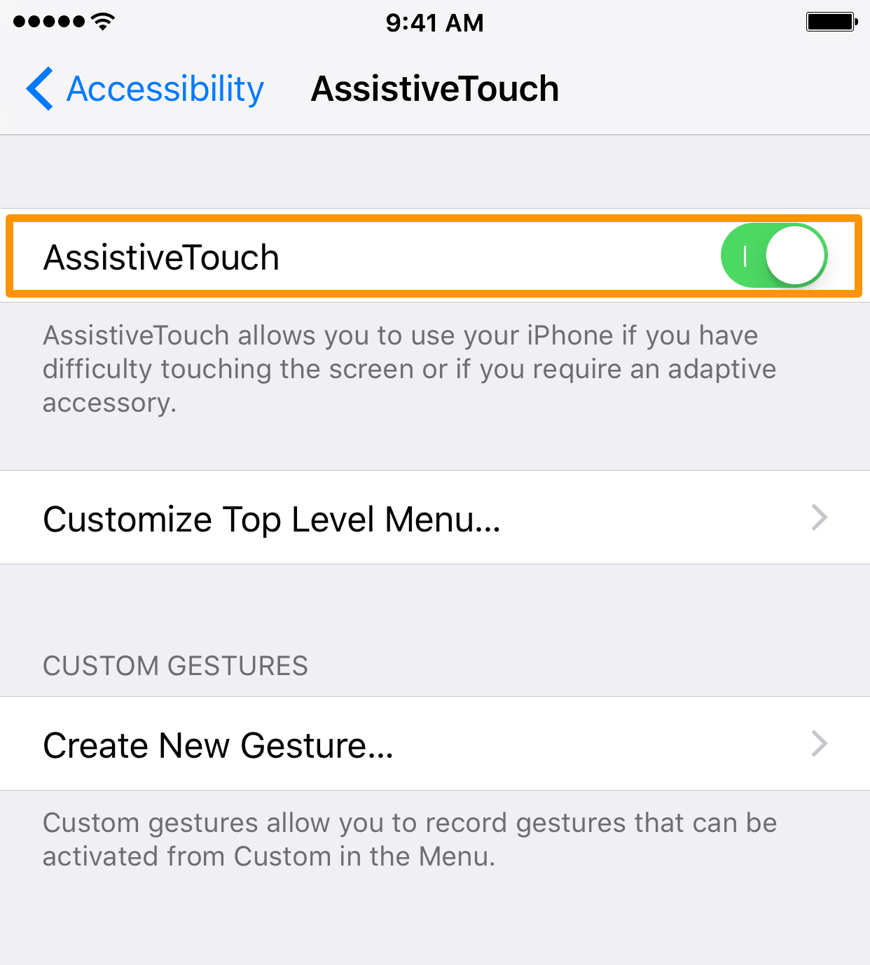 AssistiveTouch Toggle Switch