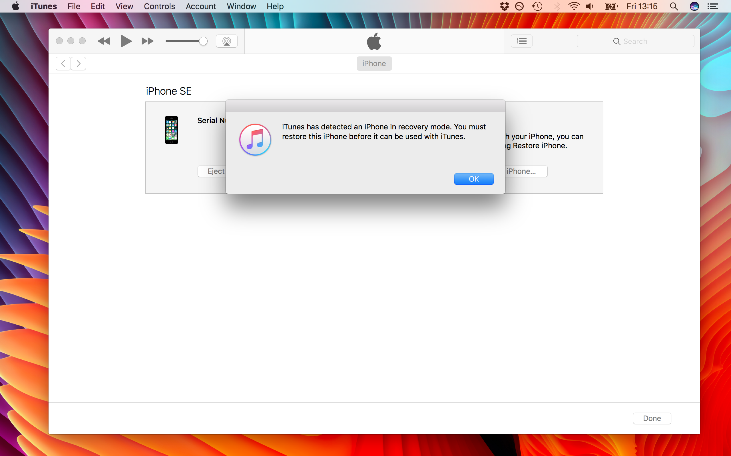 Downgrade Recovery Mode iTunes