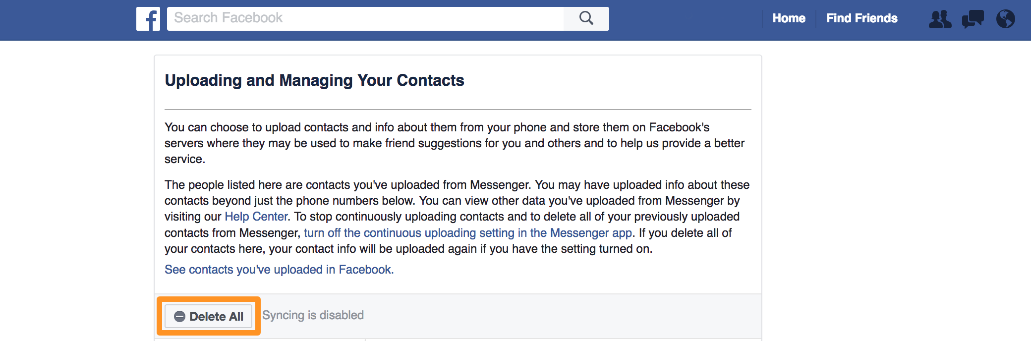 Facebook Messenger Contact Syncing