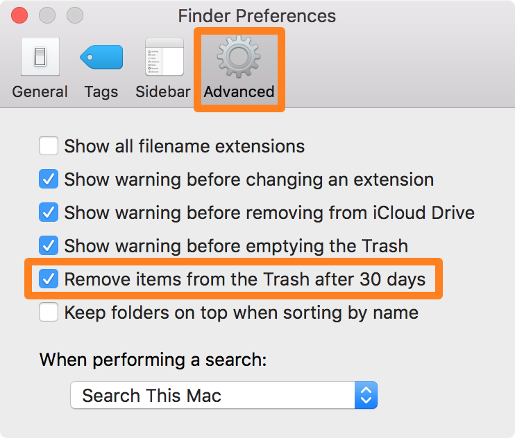 Finder Preferences 30 Day Trash