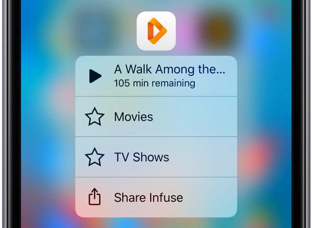 Infuse 5.1 for iOS 3D Touch Home screen shortcuts iPhone screenshot 001