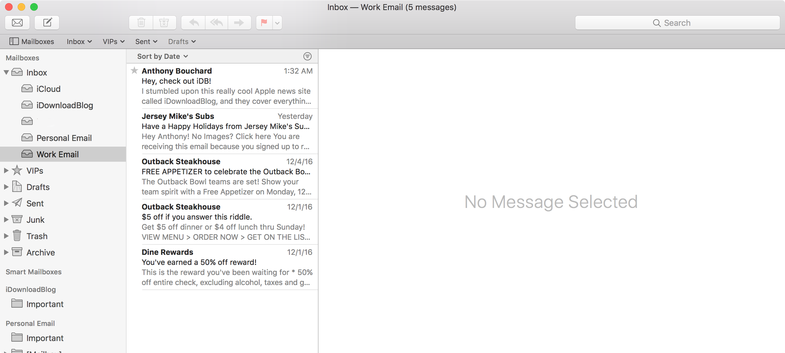 Mac Mail App Email Transfer Complete