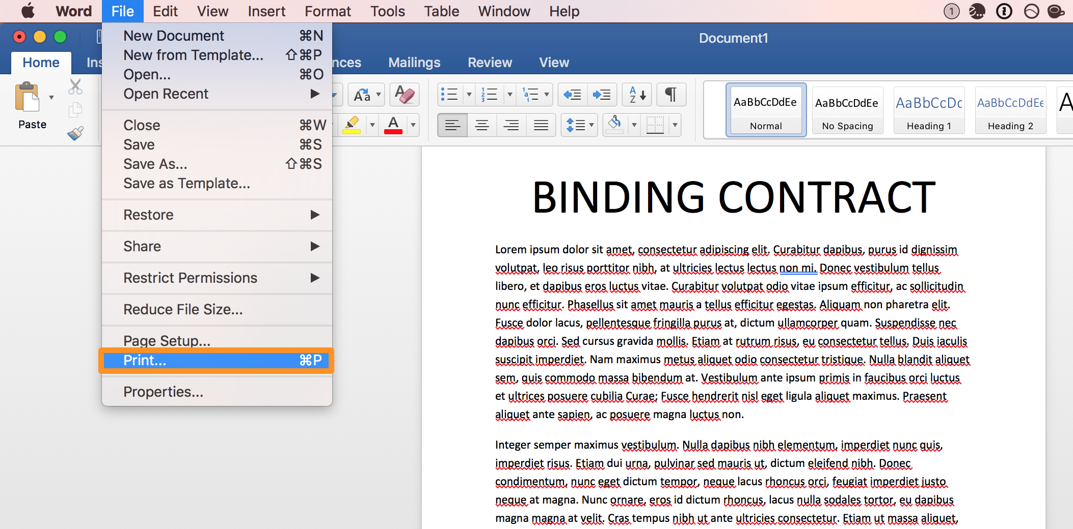 Microsoft Word File Print to PDF 1