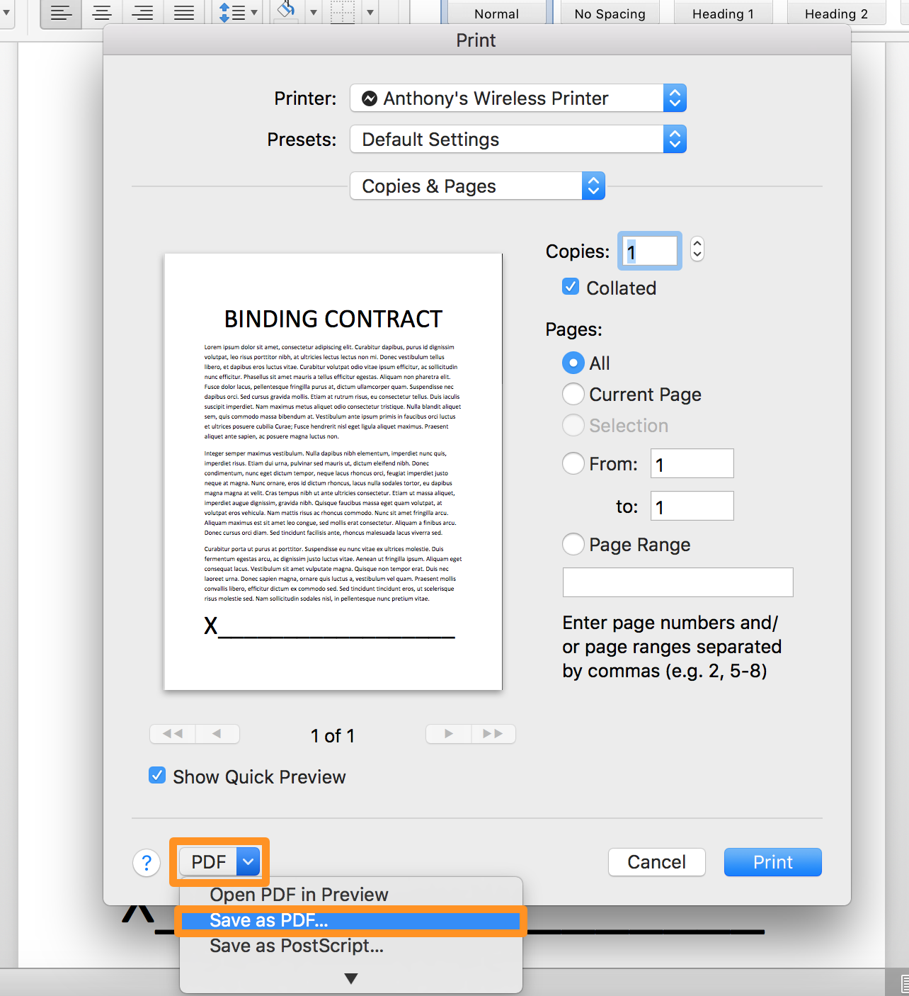 Microsoft Word Save as PDF button