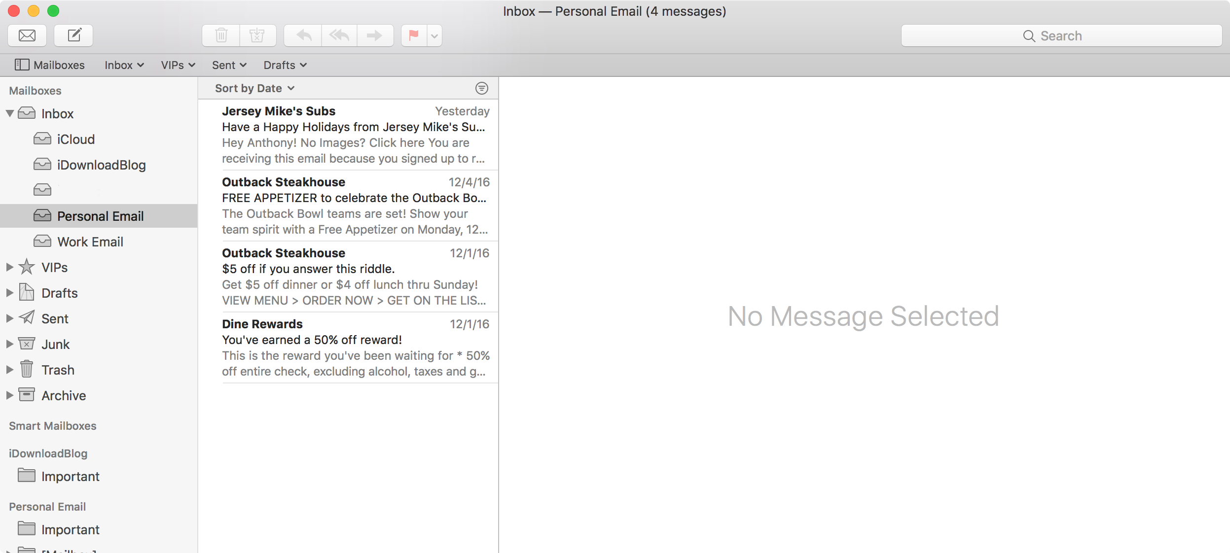 Moving email from one inbox to another mac mail