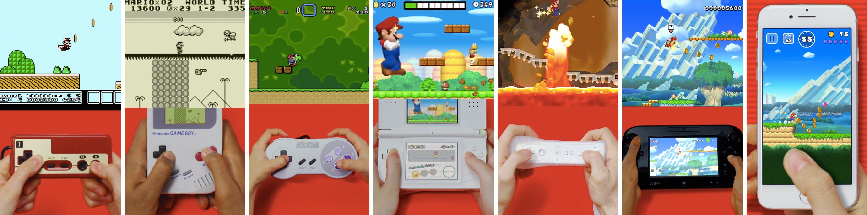 Nintendo video Super Mario over the years