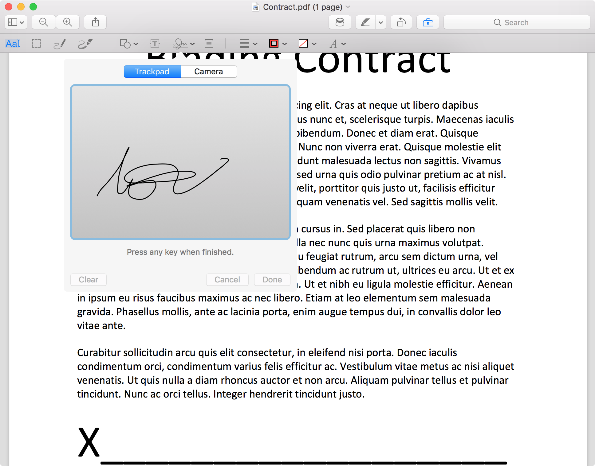 how to sign PDF on Mac