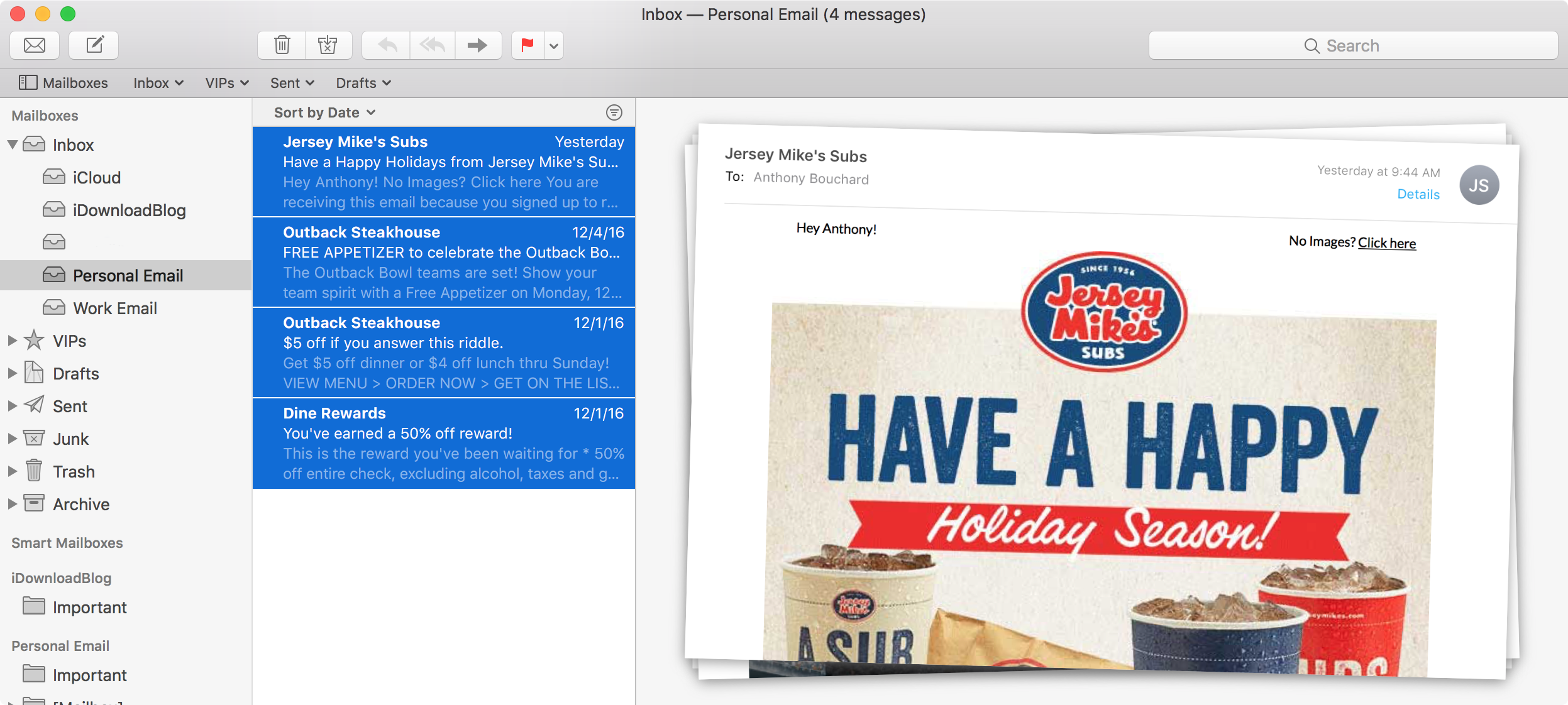 Select Email Mac Mail App Before Moving