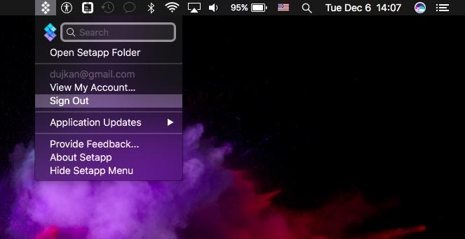 Setapp for macOS menu bar screenshot 001