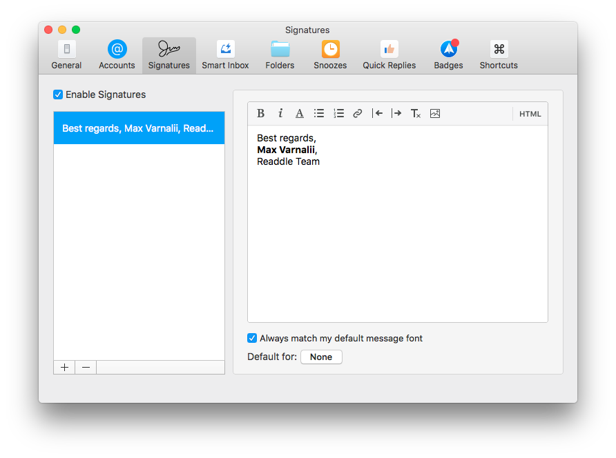 Spark for macOS 1.1 signatures aliases Mac screenshot 001