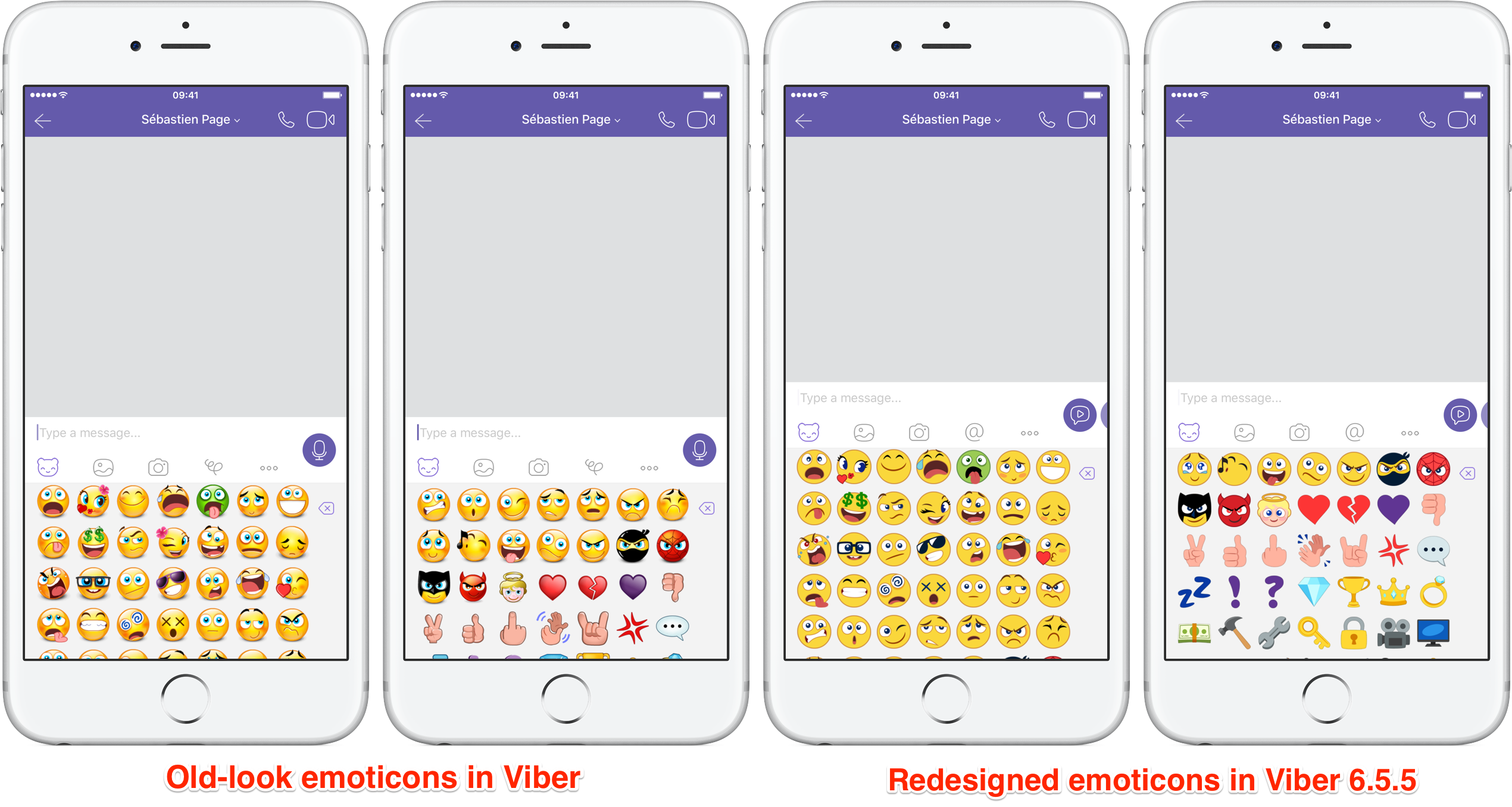 Viber 6.5.5 for iOS redesigned emoji iPhone screenshot 001