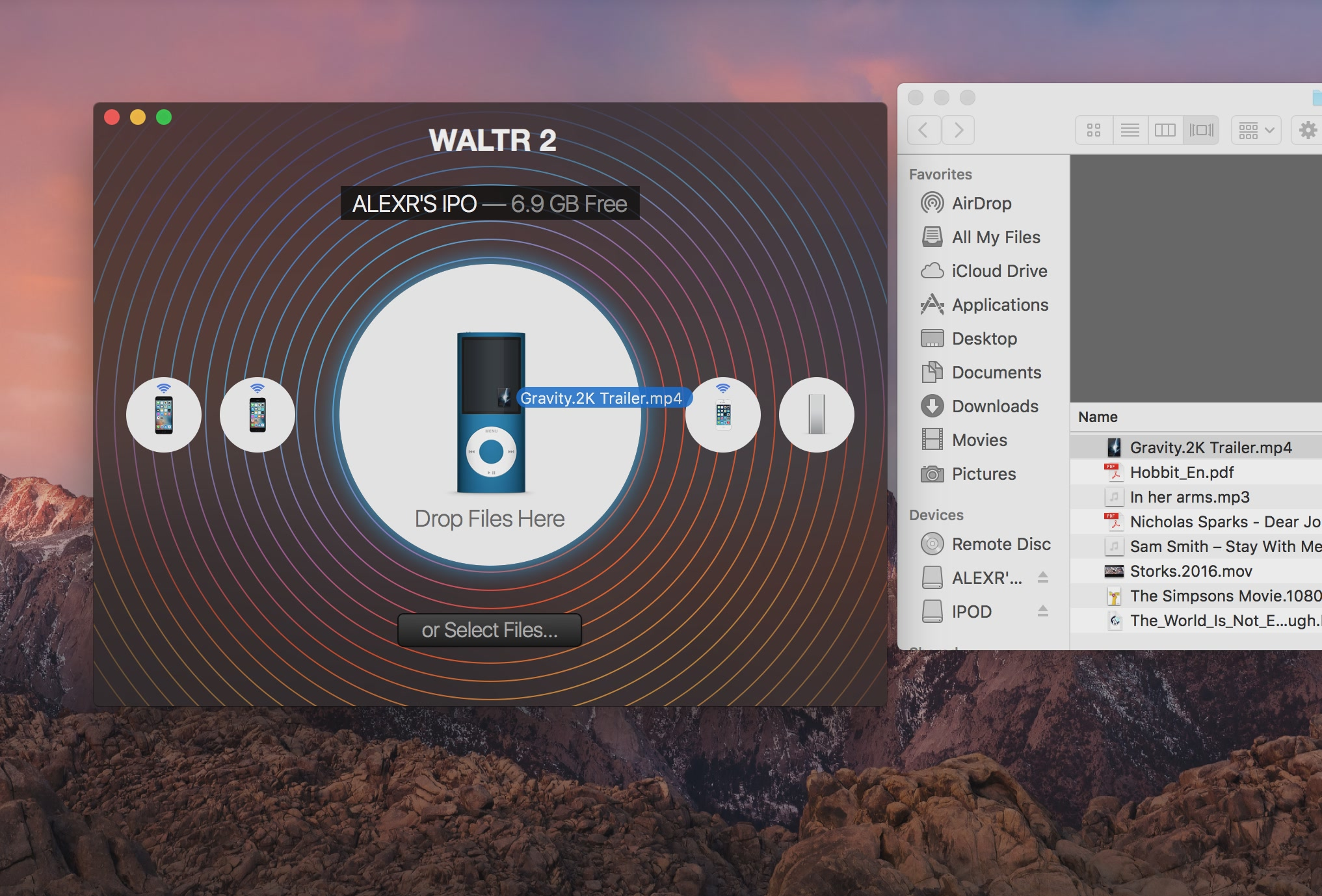 WALTR 2 for macOS Drag and drop video to iPod Nano Mac screenshot 001