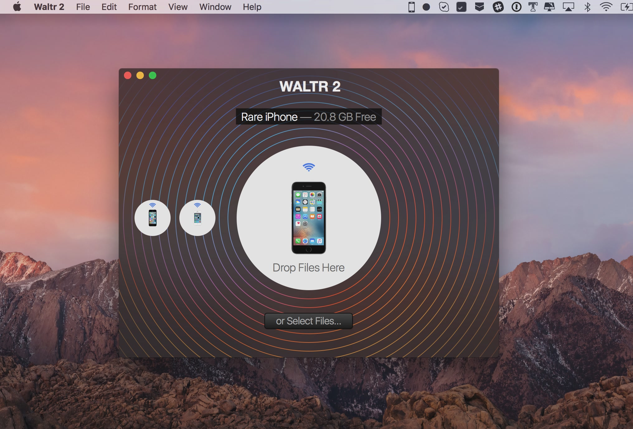 WALTR 2 for macOS connected via Wifi Mac screenshot 001