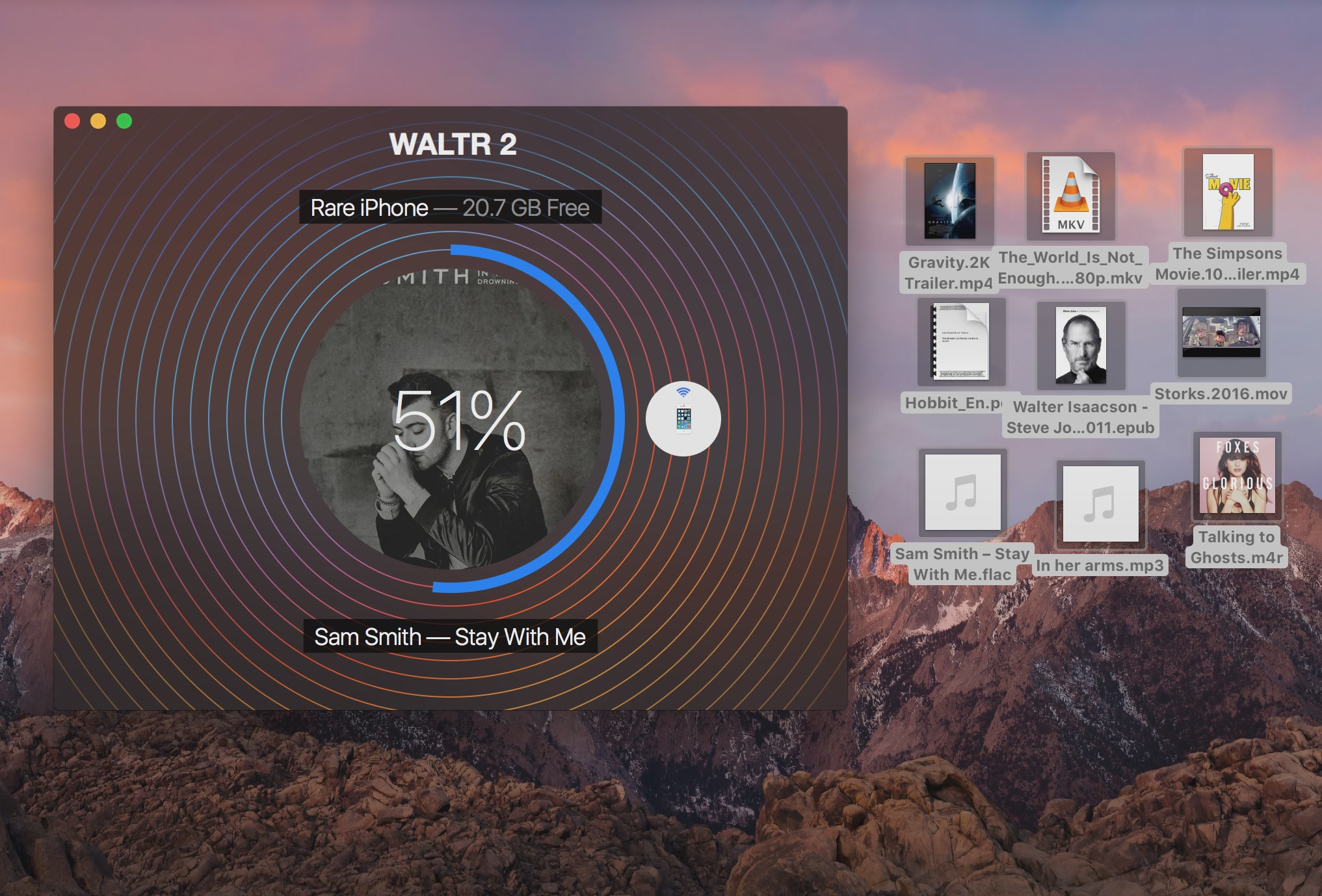 WALTR 2 for macOS transfer in progress Mac screesnhot 001