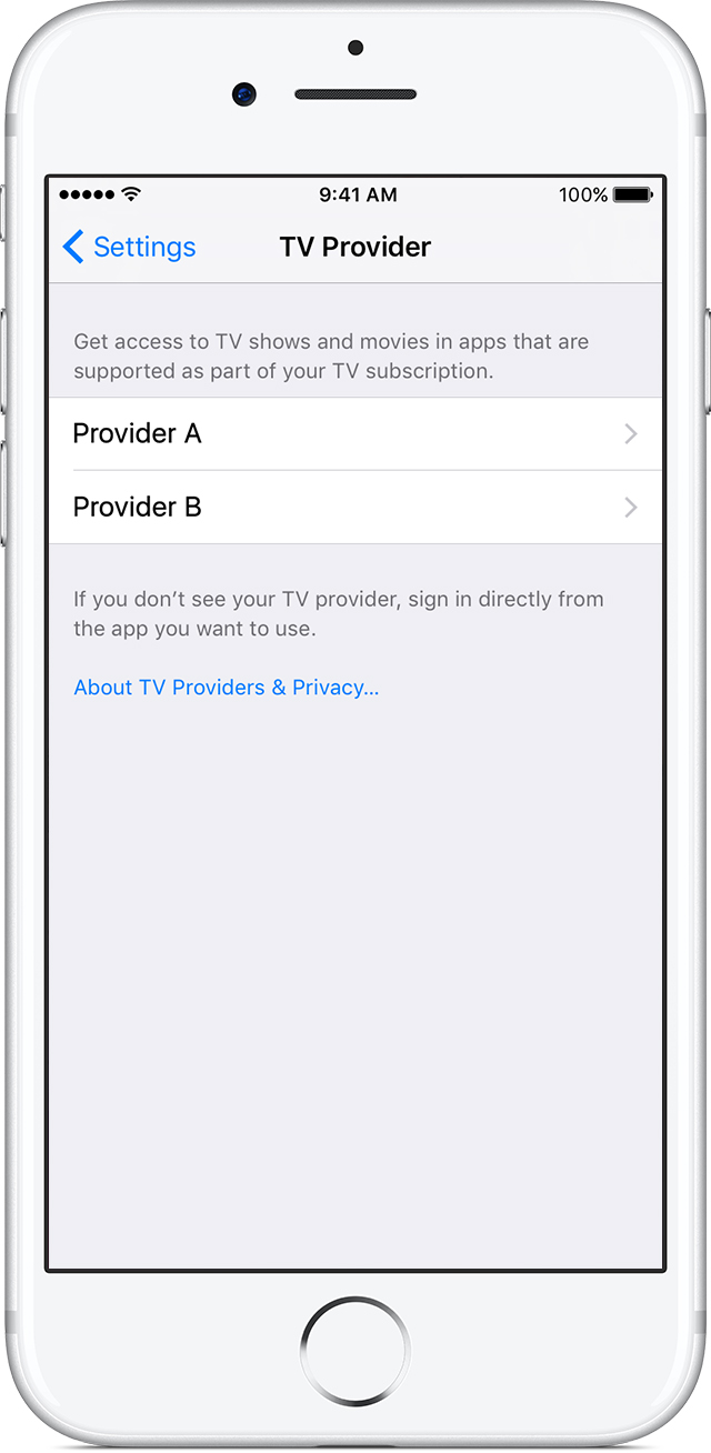 iOS 10 Single Sign-On Settings TV Provider iPhone screenshot 001