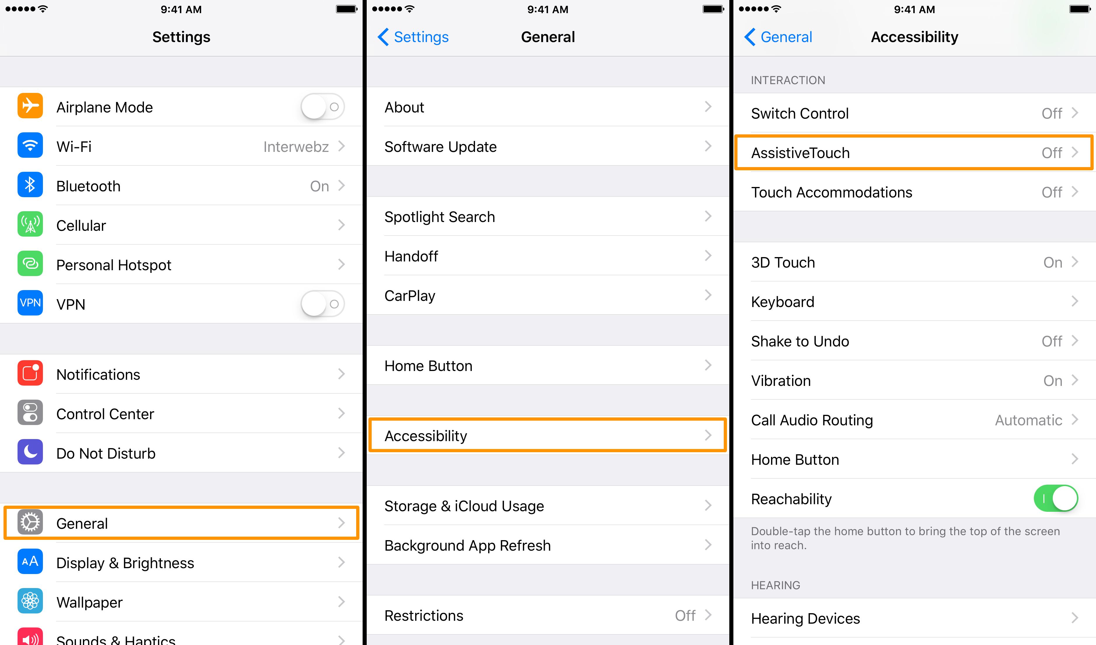 reiniciar el iPhone sin botón de encendido - Asistencia táctil