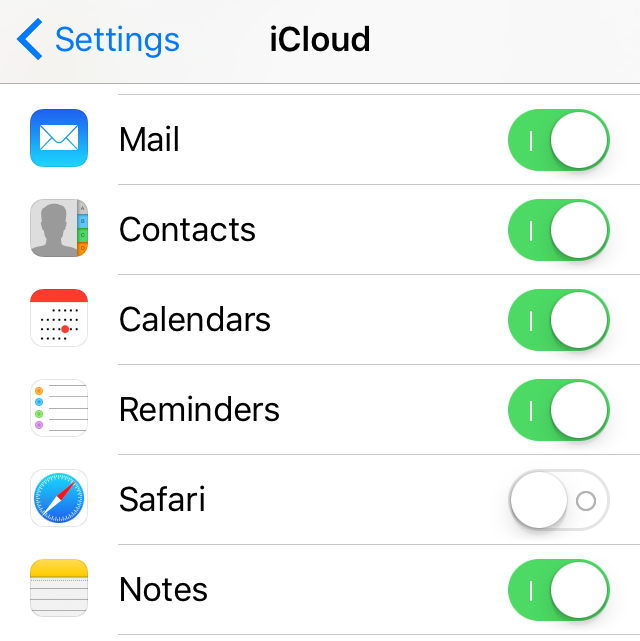 iCloud Notes not syncing - check iPhone iCloud Settings Notes