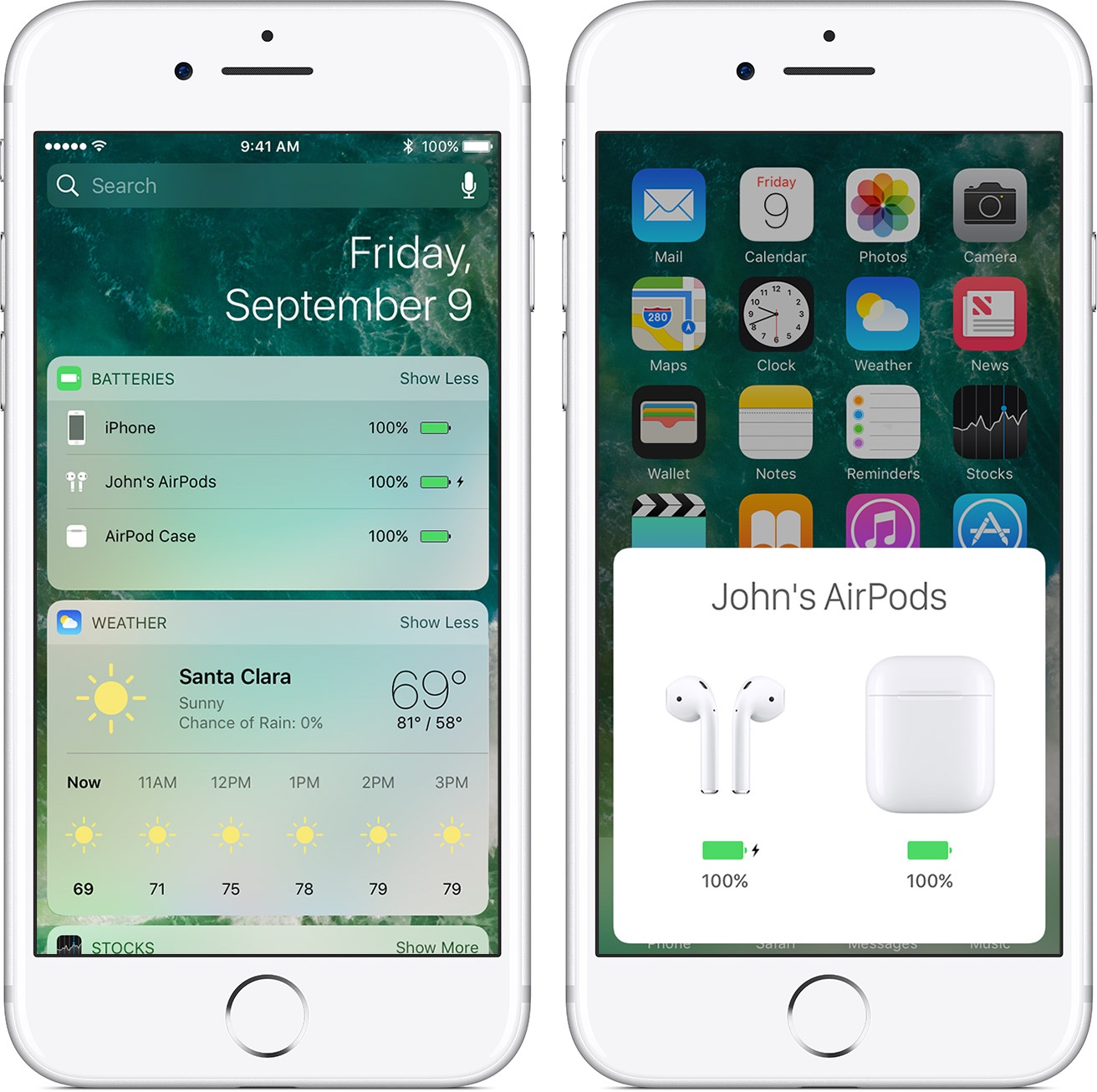ios10-iphone7-airpods-case-widget-battery-charge onscreen iPhone screenshot 001