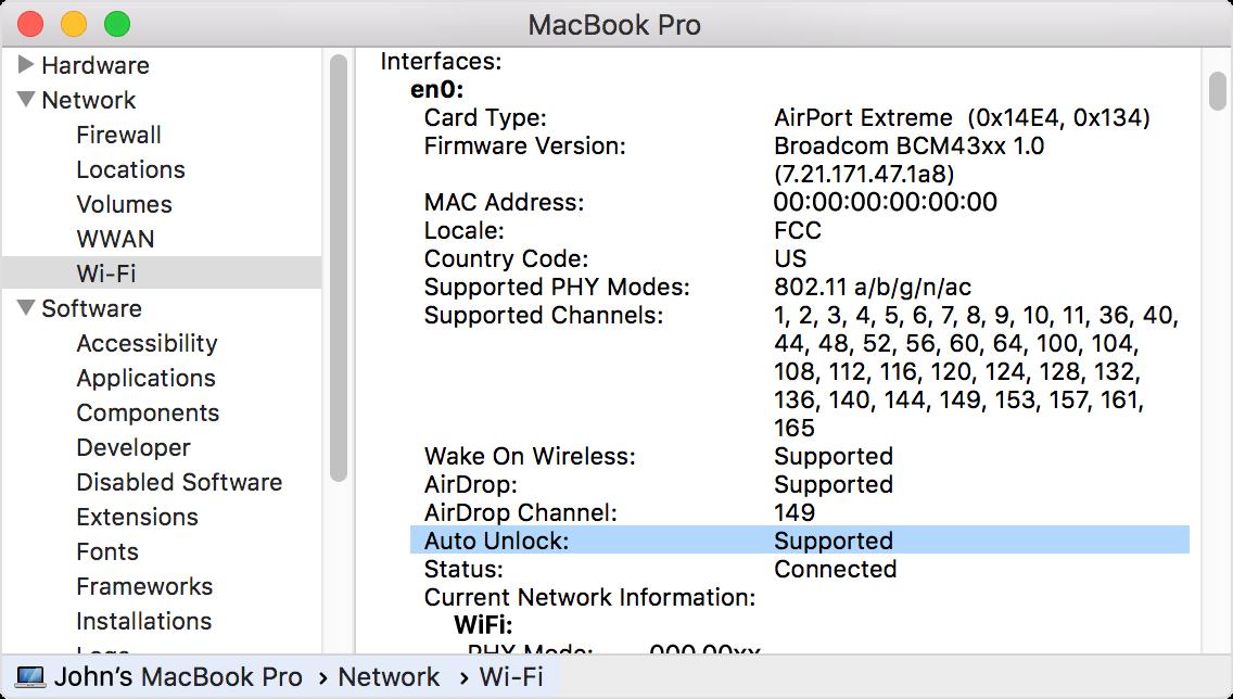 macOS Sierra System Information Wi-Fi Auto Unlock screenshot 001