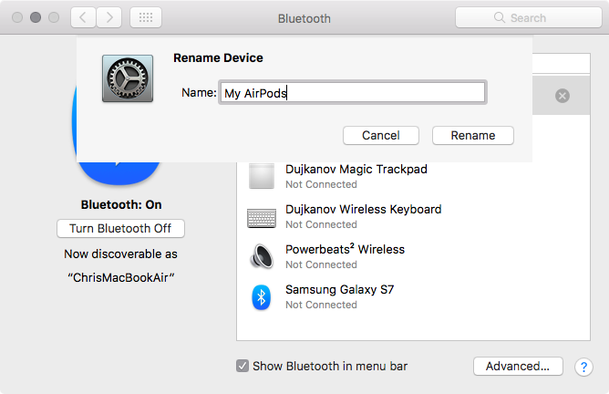 macOS Sierra rename Bluetooth headphones Mac screenshot 001