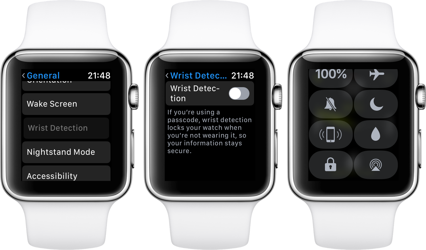 watchOS 3.1.1 Wrist Detection off Control Center Apple Watch screenshot 001