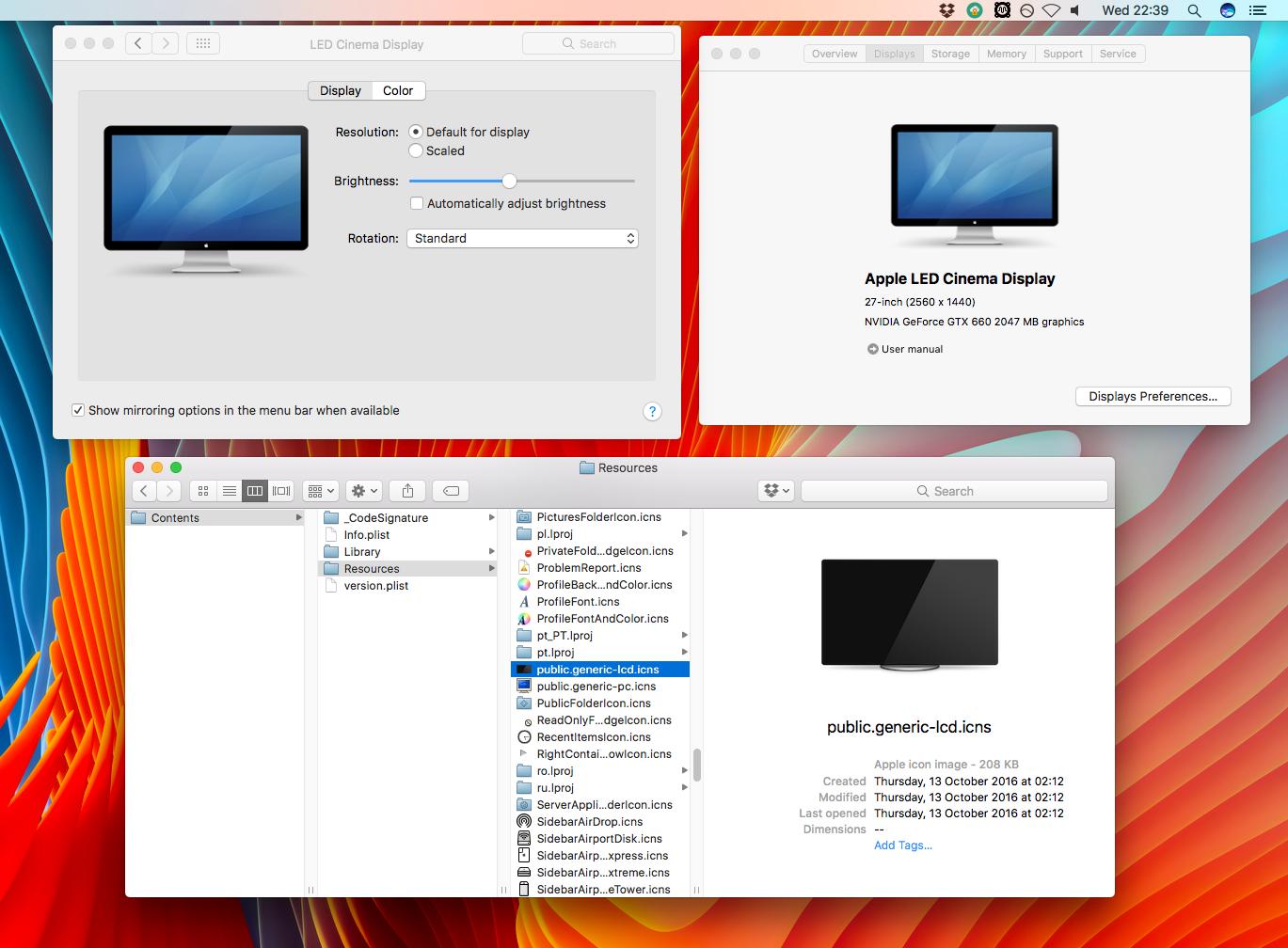 personalizar sobre esta Mac muestra imágenes