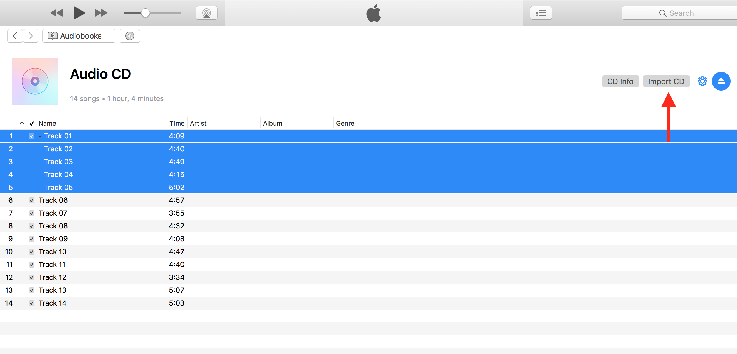 Marked tracks imported in iTunes