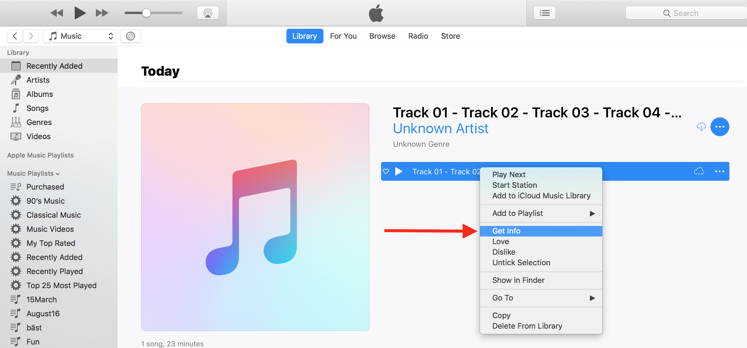 Change a music track to audiobook format