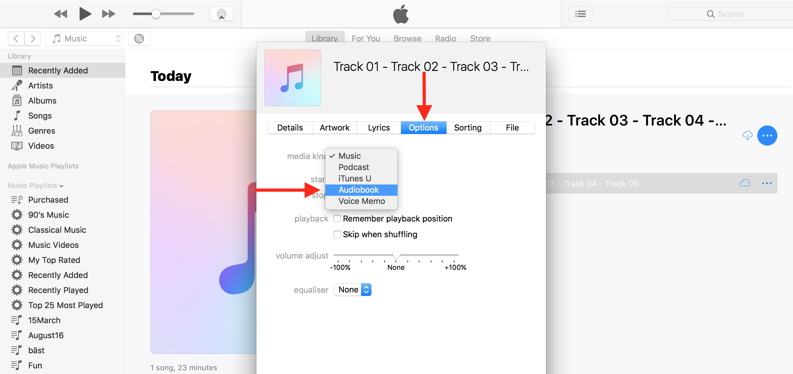 Convert iTunes track to audiobook